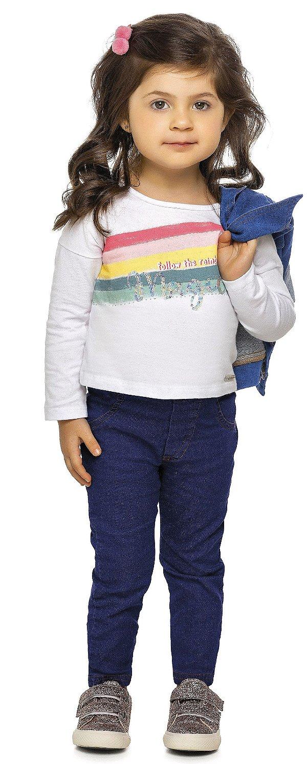 Camiseta Infantil Manga Longa Lantejoula Arco Íris Colorittá Branca