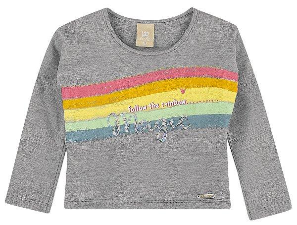 Camiseta Infantil Manga Longa Lantejoula Arco Íris Colorittá Cinza