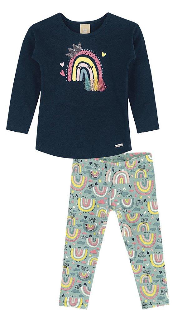 Conjunto Infantil Blusa Legging Molecotton Felpuda Colorittá Arco Íris Marinho