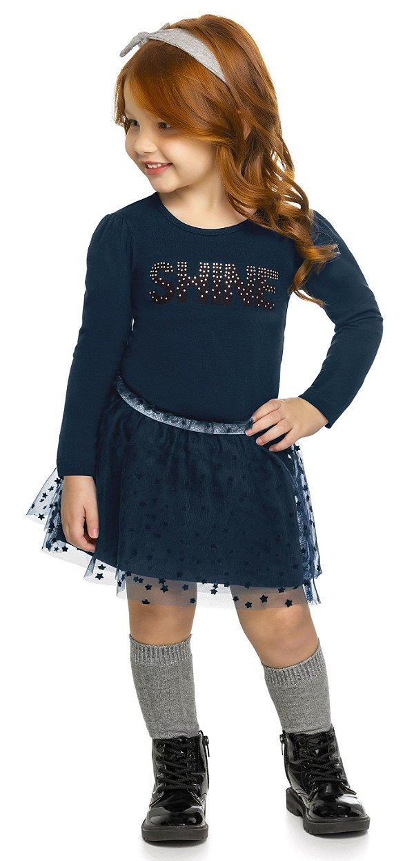 Conjunto Infantil Blusa Cotton Saia Tule Shine Colorittá Marinho