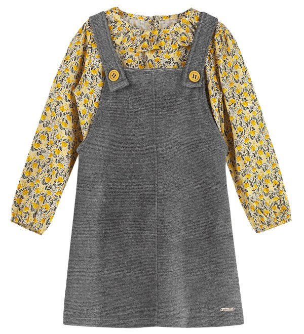 Conjunto Infantil Vestido Salopete Veludo Blusa Viscose Colorittá Flowers Amarelo