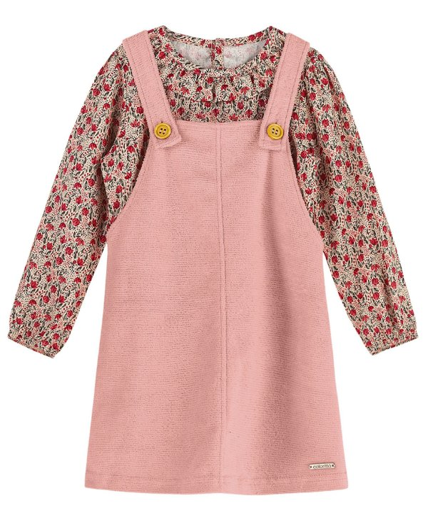 Conjunto Infantil Vestido Salopete Plush Blusa Viscose Colorittá Flowers Rosa