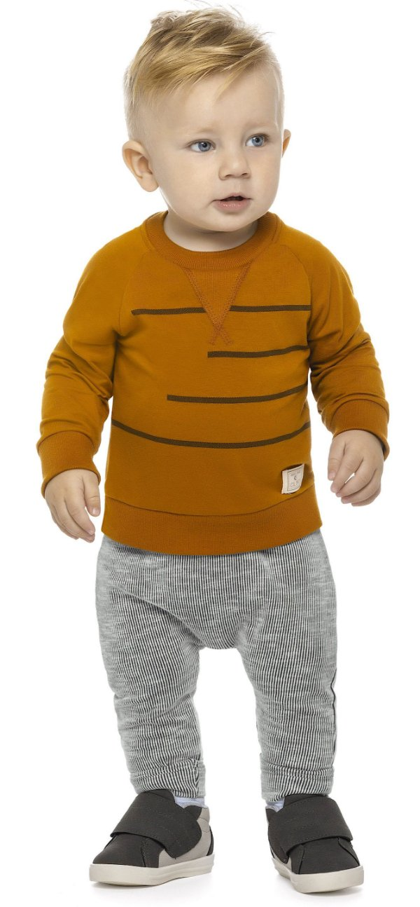 Conjunto Infantil Inverno Blusa Malha e Calça Canelada Colorittá Tijolo