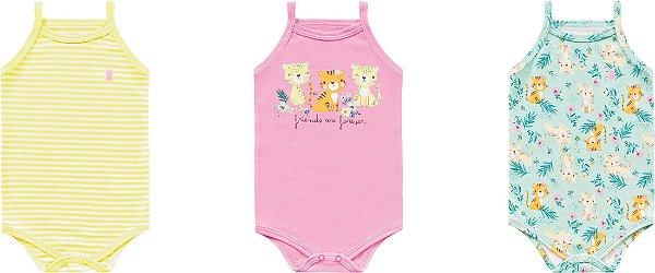 Kit Body Bebê Regata Alcinha Tigrinha Amarelo Kiko Baby