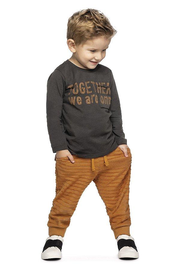 Conjunto Infantil Camiseta Meia Malha Penteada Calça Malha Colorittá