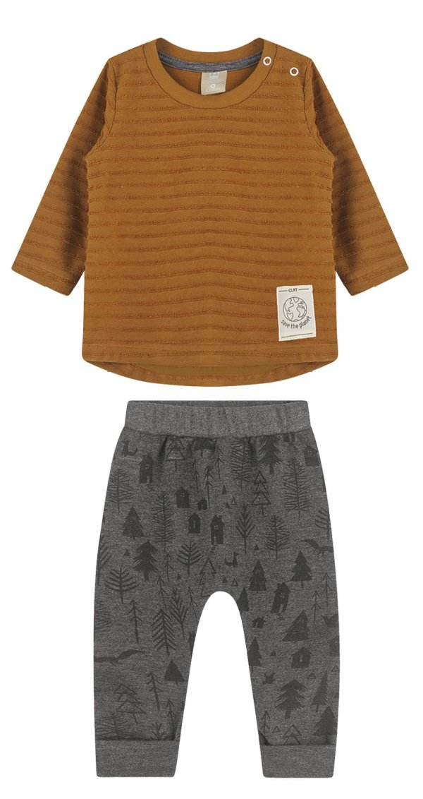Conjunto Infantil Camiseta Malha Texturizada Calça Moletom Tijolo Colorittá