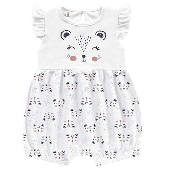 Macaquinho Romper Molecotton Menina Pandinha Branco Kiko Baby