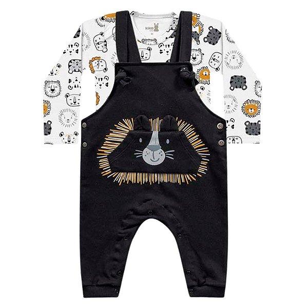 Macacão Jardineira Moletom Peluciado Body Bebê Manga Longa Leãozinho Preto Kiko Baby