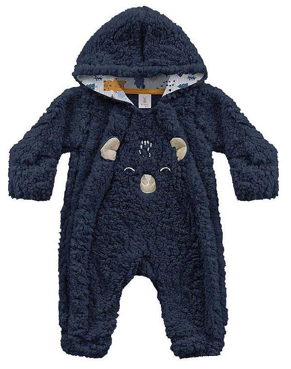 Macacão Bebê Longo Pêlos Fluffy Floresta Encantada Marinho Kiko Baby