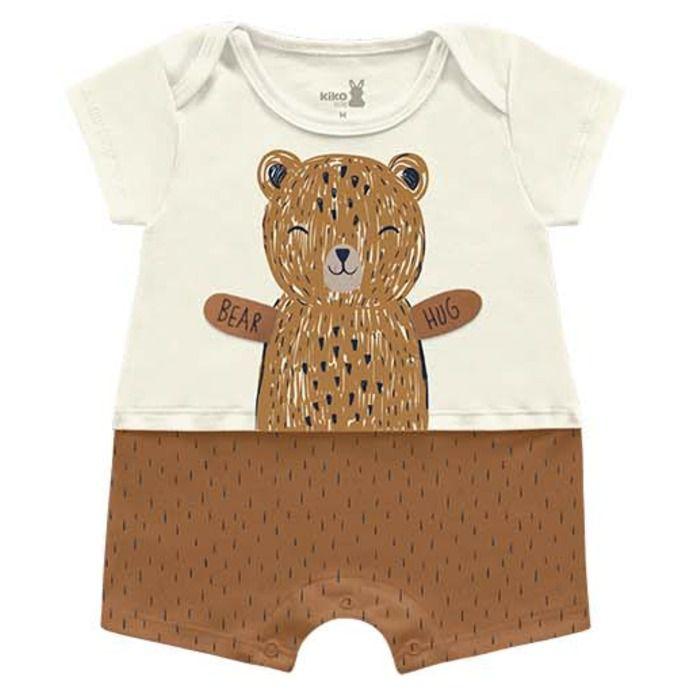 Macaquinho Romper Unissex Abraço Urso Mascavo Kiko Baby