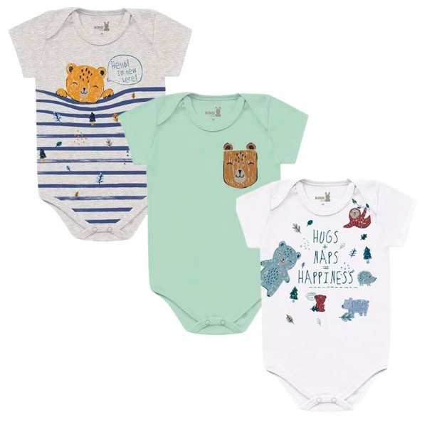 Kit Body Bebê Manga Curta Unissex Abraço Urso Tricolor Kiko Baby