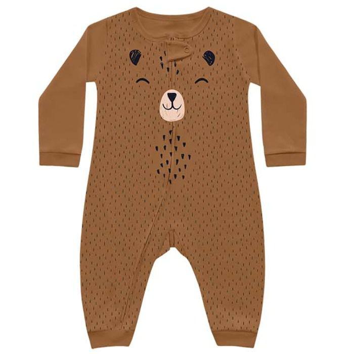 Macacão Bebê Longo Suedine Unissex Abraço Urso Mascavo Kiko Baby