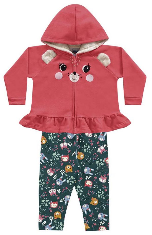 Conjunto Moletom Bebê Ursinha Casaco Calça Iris Tutti Kiko e Kika