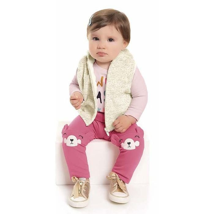 Conjunto Longo Bebê Colete Atoalhado Blusa e Legging Peluciado Off White Kiko e Kika