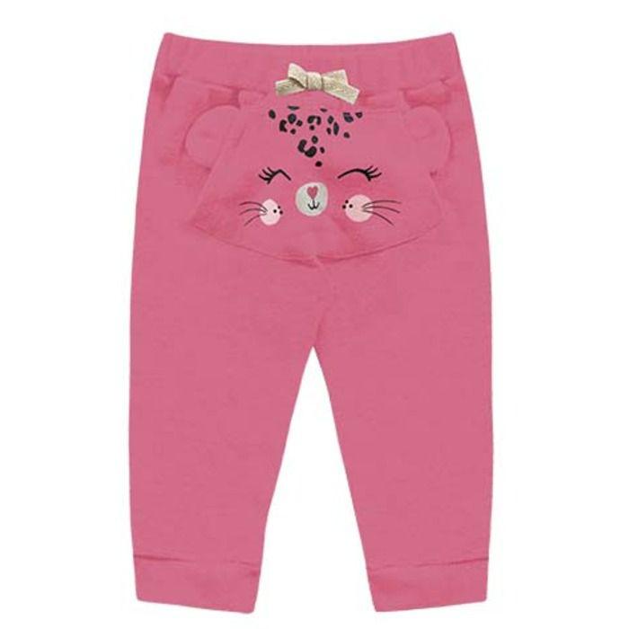 Calça Bebê Moletom Peluciado Gatitta Pink Kiko e Kika