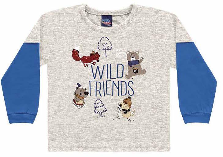 Camiseta Infantil Manga Longa Wild Friends Encantada Cinza Kiko e Kika