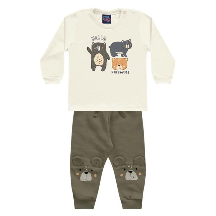 Conjunto Moletom Bebê Calça Camiseta Malha Ursinho Bege Encantada Kiko e Kika