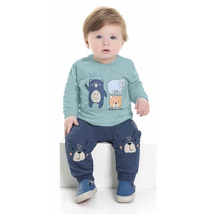 Conjunto Bebê Calça Moletom Peluciado Camiseta Malha Ursinho Azul Kiko e Kika