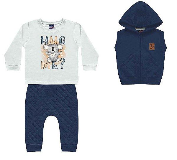 Conjunto Moletom Bebê Trio Colete Peluciado Camiseta Calça Azul Kiko e Kika