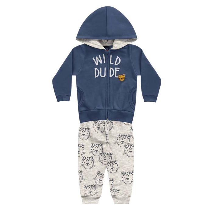 Conjunto Moletom Bebê Peluciado Capuz wild dude Azul Kiko e Kika