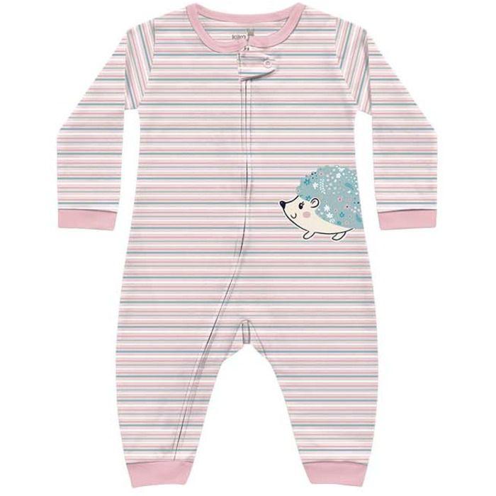 Macacão Longo Bebê Suedine Menina Listras Porquinho Rosa Kiko Baby