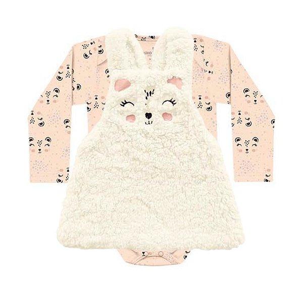 Conjunto Vestido Salopete Pêlos Fluffy Body Bebê ML Pandinha Salmão Kiko Baby