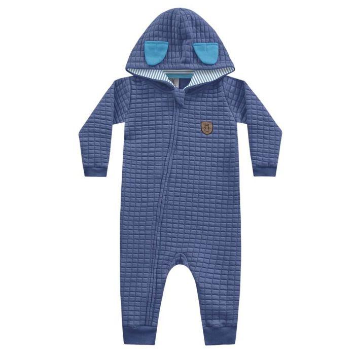 Macacão Moletom Matelassê Longo Capuz Azul Kiko Baby