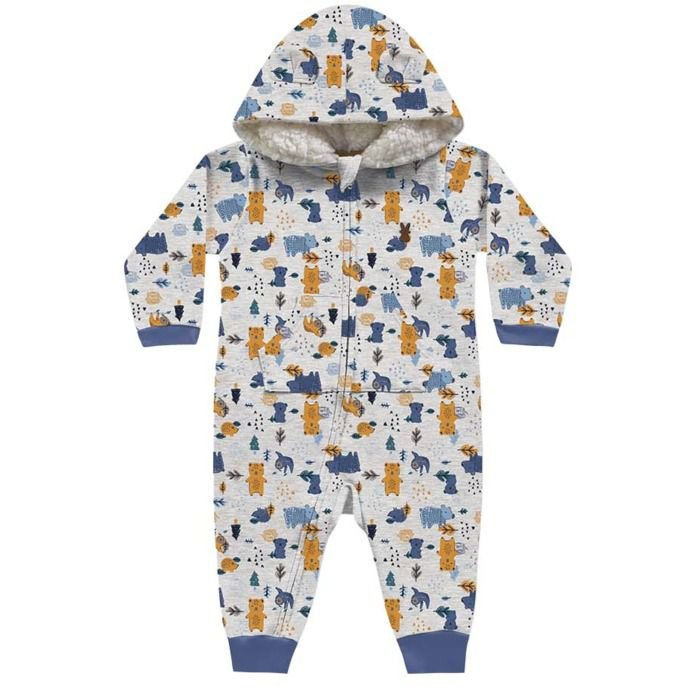 Macacão Moletom Peluciado Bebê Floresta Encantada Azul Kiko Baby