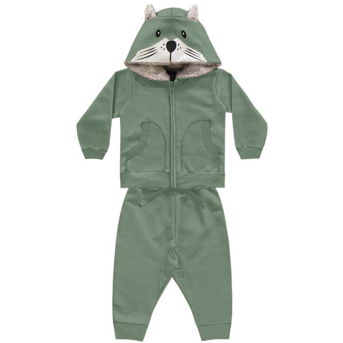 Conjunto Moletom Bebê Peluciado Capuz Pêlos Fox Verde Kiko e Kika