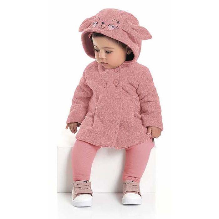 Conjunto Longo Bebê Casaco Tweed Calça Molecotton Felpada Rosa Kiko e Kika