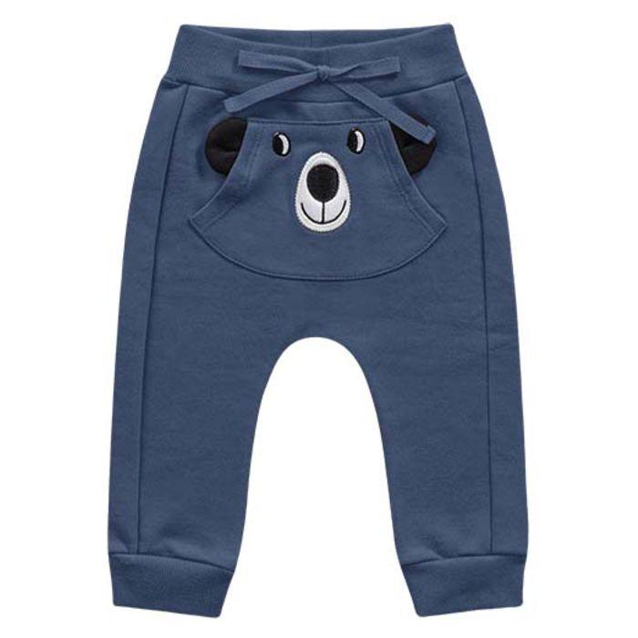 Calça Moletom Bebê Peluciada Bolso Cachorrinho Azul Kiko e Kika