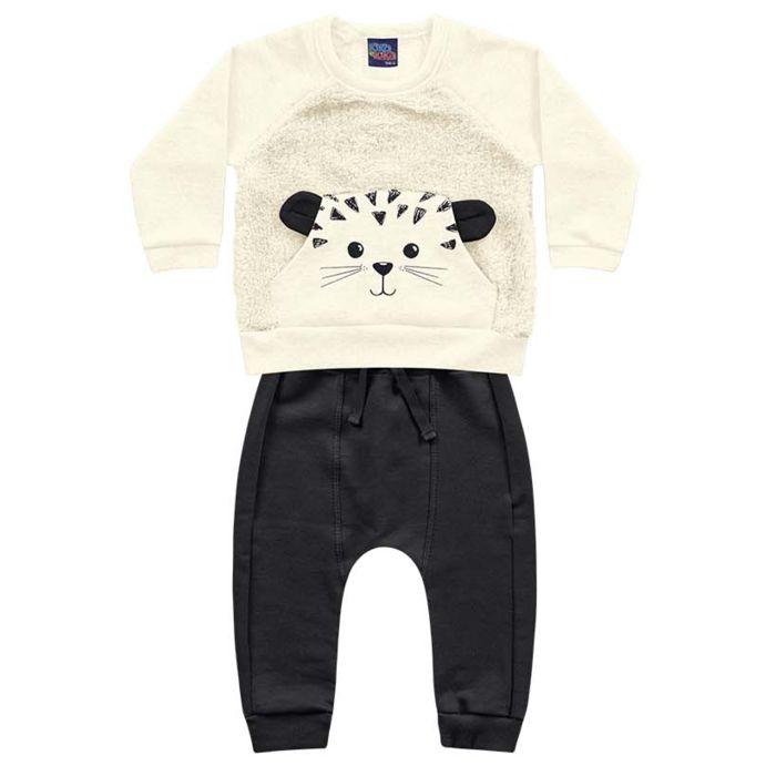 Conjunto Moletom Bebê Peluciado Ursinho Pelinhos Off White Kiko e Kika