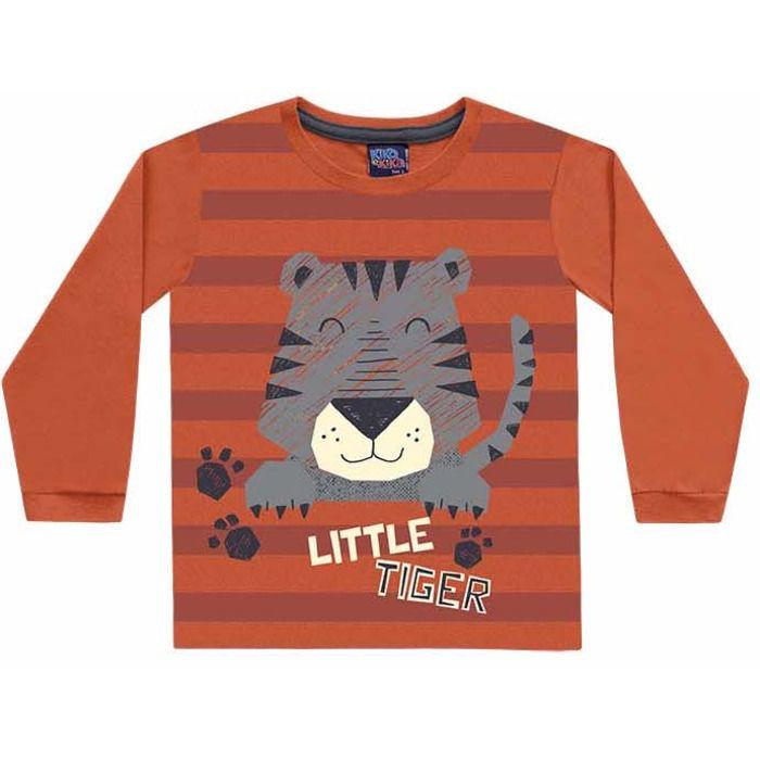 Camiseta Infantil Manga Longa Tigrinho Laranja Kiko e Kika