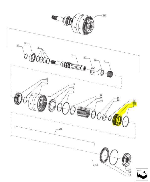 CUBO ENGRENAGEM COM MOLAS DO PACOTE DISCO DE EMBREAGEM (ORIGINAL) NEW HOLLAND - LINHA T6. -  84371327