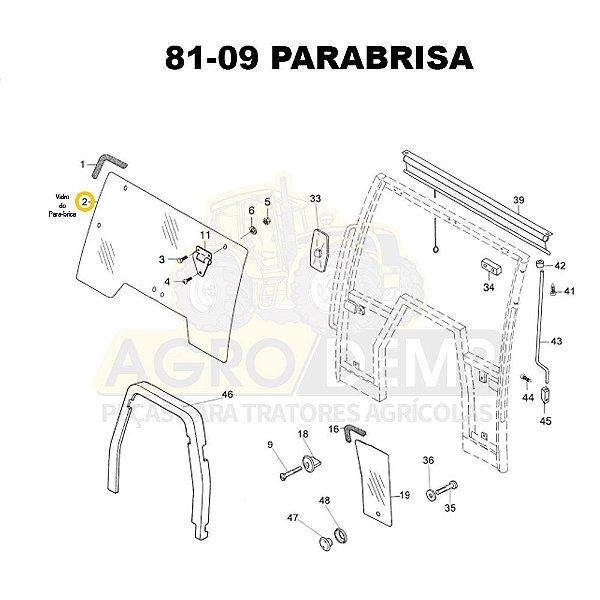 VIDRO PARABRISA - VALTRA BH140 / BH160 / BH180 (G1) - BM85 / BM100 / BM110 / BM120 (G1) - 81470200