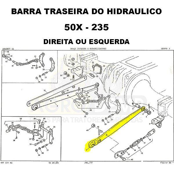 BRACO BARRA DO LEVANTE HIDRAULICO TRASEIRO (BARRA INFERIOR COM OLHAL - LADO DIREITO OU ESQUERDO) MASSEY FERGUSON - 50X / 235 - 1482660