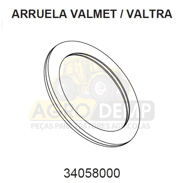 ARRUELA DE ENCOSTO - VALTRA / VALMET BH140 / BH145 / BH160 / BH165 / BH180 / BH185 / BH205 / BM85 / BM100 / 1280R / 1580 E 1780 (GERAÇÕES 1 2 E HI) - 34058000