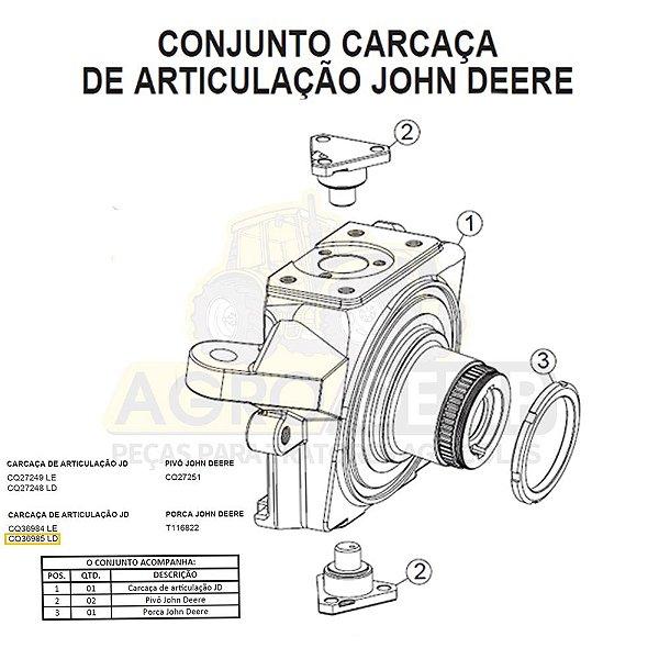 CARCAÇA DE ARTICULAÇÃO (LADO DIREITO) - JOHN DERRE 7500 - CQ36985