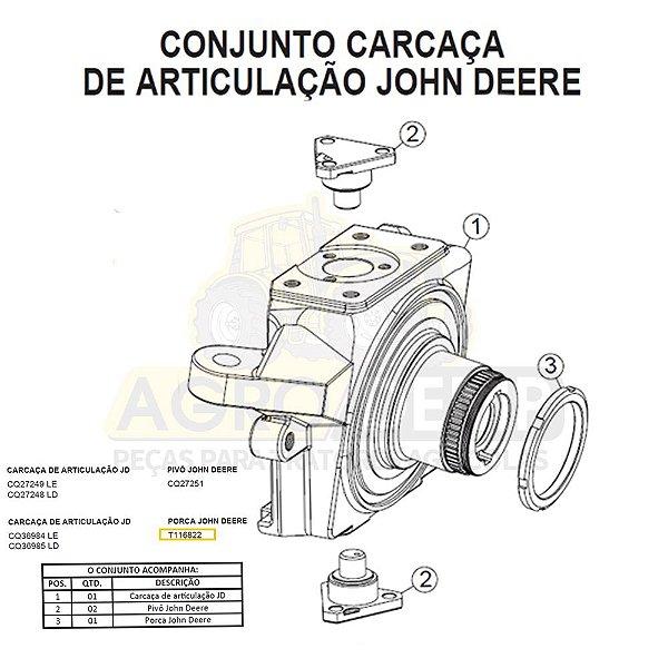 PORCA PARA (TRATOR E RETROESCAVADEIRA) - JOHN DEERE 201C / 300D / 310C / 315C / 315CH / 315D / 410C /  482C / 510C /  510D / 610C / 5090E / 6100E / 6100J / 6115J - T116822