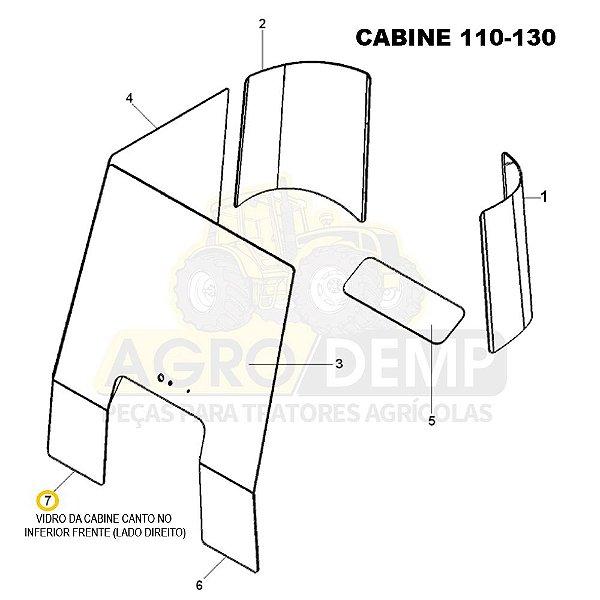 VIDRO DA CABINE CANTO NO INFERIOR FRENTE (LADO DIREITO) - MASSEY FERGUSON 4275 / 4283 / 4290 / 4291 / 4292 / 4297 / 4298 E 4299 - 6214875
