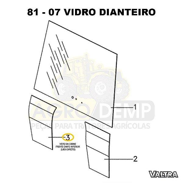 VIDRO DA CABINE FRENTE CANTO INFERIOR (LADO DIREITO) - VALTRA BT150 / BT170 E BT190 - 3902150