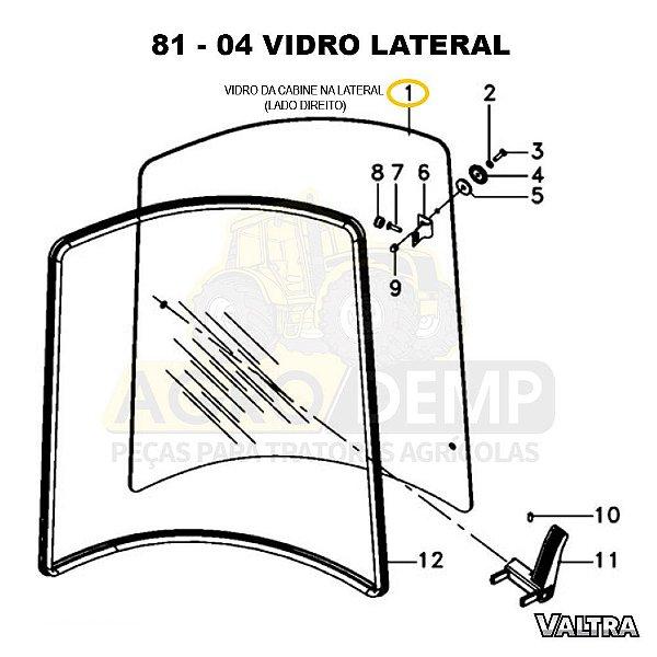 VIDRO DA CABINE NA LATERAL (LADO DIREITO) - VALTRA BT150 / BT170 E BT190 - 3902131M1