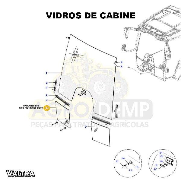 VIDRO DA FRENTE DO CANTO INFERIOR (LADO DIREITO) - VALTRA BH135 / BH145 / BH165 / BH180 / BH200 E BH210 (GERAÇÃO 3) - 36483810