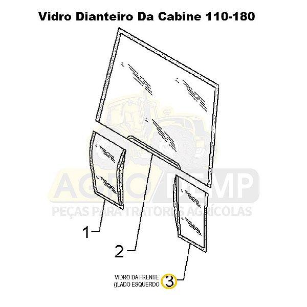 VIDRO DA FRENTE NO CANTO INFERIOR DA CABINE (LADO ESQUERDO) - MASSEY FERGUSON 650 / 660 / 680 / 650ADV / 660ADV / 680ADV / 5300 / 5310 / 5320 / 6360 - 3902149