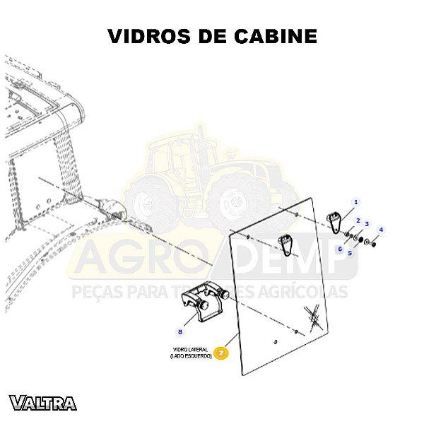 VIDRO DA JANELA LATERAL (LADO ESQUERDO) - VALTRA BH135 / BH145 / BH165 / BH180 / BH200 E BH210 (GERAÇÃO 3) - 37253000