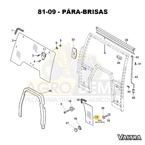 VIDRO INFERIOR DO PARA-BRISA (LADO DIREITO) - VALTRA BH140 / BH160 / BH180 / BM85 / BM100 / BM110 / BM120 E 1780 - 81471500