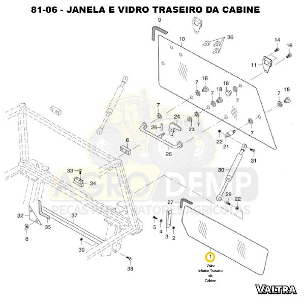 VIDRO INFERIOR TRASEIRA DA CABINE - VALTRA BH140 / BH160 / BH180 / BM85 / BM100 / BM110 / BM120 E 1780  - 81475800