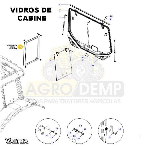 VIDRO LATERAL DE JANELA (LADO DIREITO) - VALTRA BH145 / BH165 / BH180 / BH200 E BH210 - 36424700