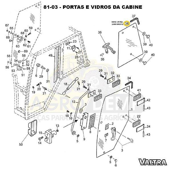 VIDRO LATERAL (LADO DIREITO) - VALTRA BH140 / BH160 / BH180 / BM85 / BM100 / BM110 / BM120 E 1780 - 81474900