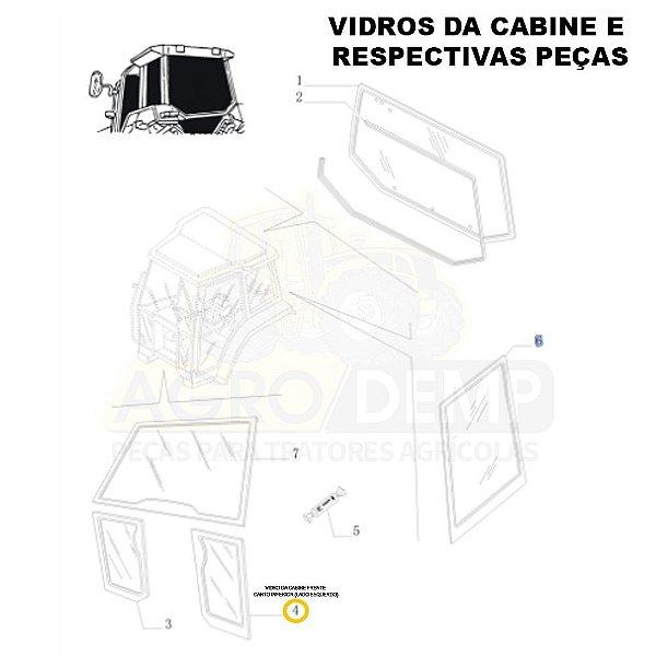 VIDRO DA CABINE CANTO INFERIOR (LADO ESQUERDO) - NEW HOLLAND TL60E / TL75E / TL85E / TL95E / TM135 / TM150 / TM165 / TM180 / TM7010 / TM7020 / TM7030 ATÉ TS6040 - 87314708